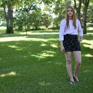 Zara Basic Black High Waisted Printed Shorts